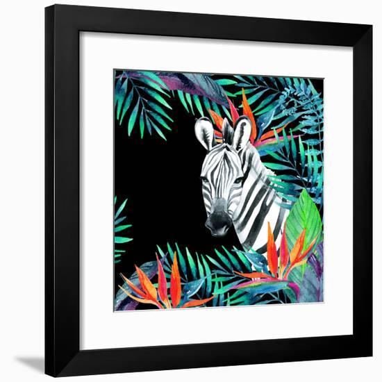 Zebra and Exotic Flowers Watercolor-tanycya-Framed Premium Giclee Print