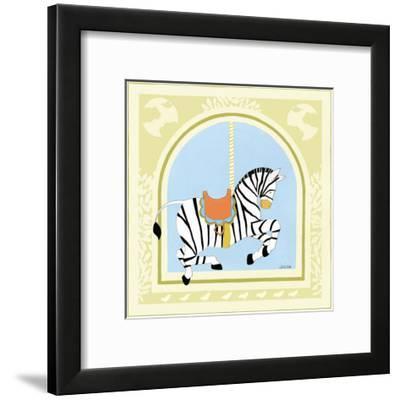 Zebra Carousel-Erica J. Vess-Framed Art Print