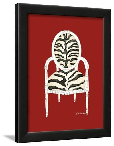 Zebra Chair on Red-Chariklia Zarris-Framed Art Print