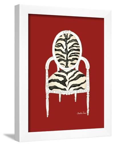 Zebra Chair on Red-Chariklia Zarris-Framed Art Print