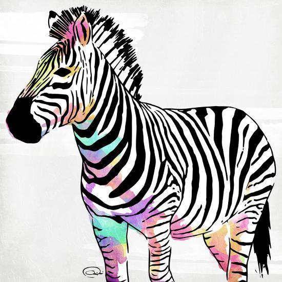 Zebra Head Colorful-OnRei-Art Print