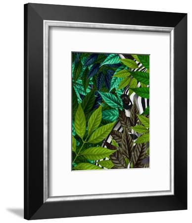 Zebra in Green Leaves-Fab Funky-Framed Art Print