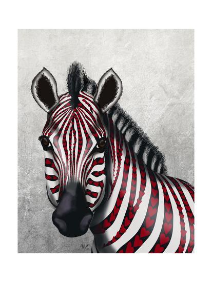 Zebra, Red Love Hearts-Fab Funky-Art Print