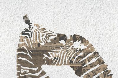 Zebras on White-Whoartnow-Giclee Print