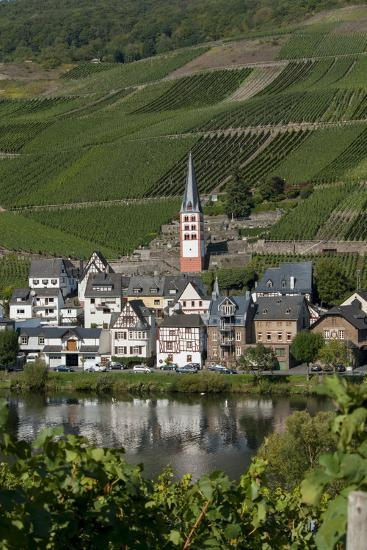 Zell Church on River Mosel, Zell, Rhineland-Palatinate, Germany, Europe-Charles Bowman-Photographic Print