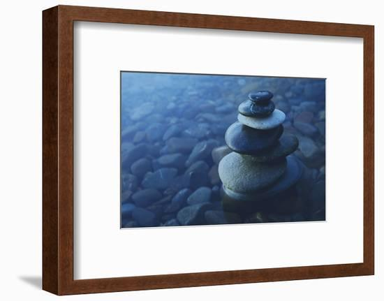 Zen Balance Rocks Pebbles Covered Water Concept--Framed Photographic Print