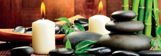 Zen Basalt Stones and Bamboo on the Wood--Art Print