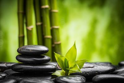 Zen Basalt Stones and Bamboo-scorpp-Premium Photographic Print