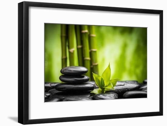Zen Basalt Stones and Bamboo-scorpp-Framed Photographic Print