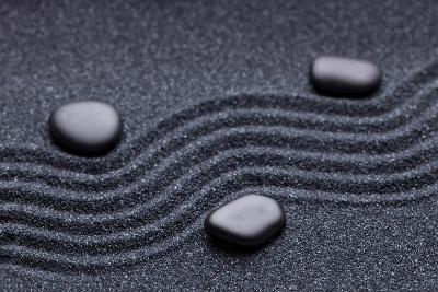 Zen Garden with a Wave Lines in the Sand with Iregular and Relax-iLight photo-Photographic Print