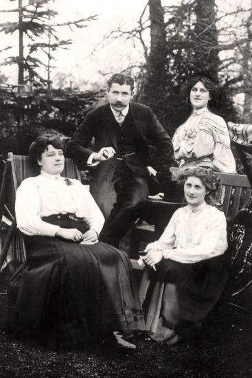 Zena (1887-197) and Phyllis Dare (1890-197), English Actresses, with their Parents, 1906-Foulsham and Banfield-Photographic Print