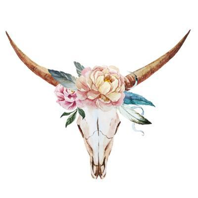 Bull Skull Watercolor by Zenina