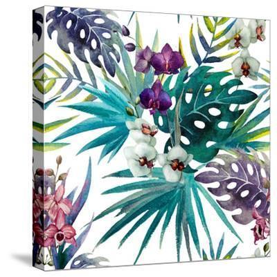 Watercolor Orchid and Hibiscus Leaves - Tropics