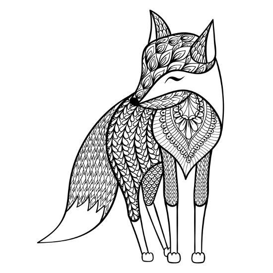 Zentangle Vector Happy Fox For Adult Anti Stress Coloring Pages Ornamental Tribal Patterned Illust Art Print Panki Art Com