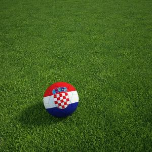 Croatian Soccerball Lying on Grass by zentilia