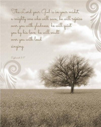 Zephaniah 3:17 The Lord Your God (Grey Landscape)-Inspire Me-Art Print