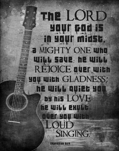 Zephaniah 3:17 The Lord Your God (Guitar Black & White)-Inspire Me-Art Print