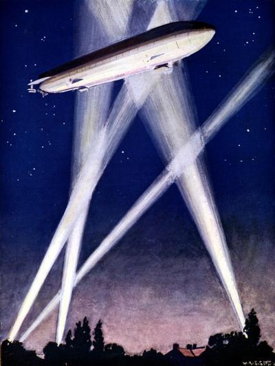 Zeppelin Airship Caught in Searchlights During a Bombing Raid over England, 1916--Giclee Print