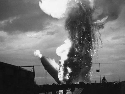 Zeppelin Hindenburg Burning in Lakehurst--Photographic Print