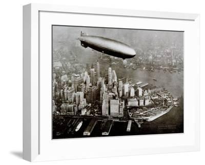 Zeppelin Over New York--Framed Art Print