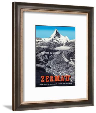 Zermatt, Switzerland - Matterhorn (Mont Cervin) - Swiss Alps - Fly there by SwissAir-Alfred Perren-Barberini-Framed Art Print