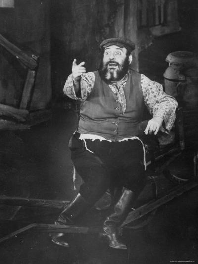 Zero Mostel Performing in a Scene from the Broadway Musical Fiddler on the Roof-Gjon Mili-Premium Photographic Print