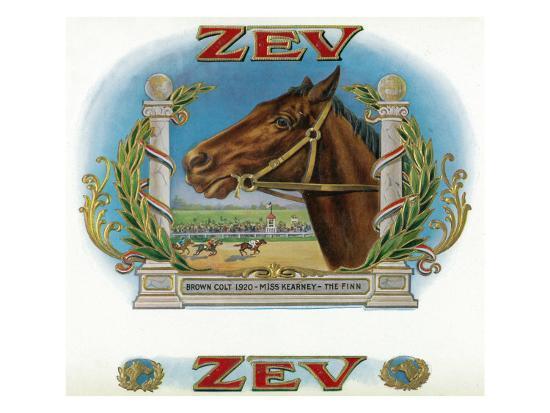 Zev Brand Cigar Box Label, Horse Racing-Lantern Press-Art Print