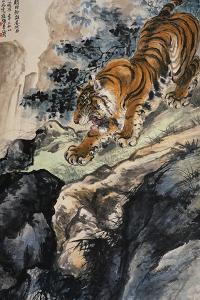 Ferocious Tiger Stalking a Mountain Path by Zhang Shanzi