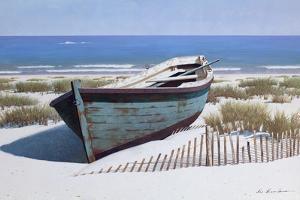 Blue Boat on Beach by Zhen-Huan Lu