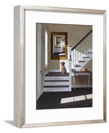 Droste and Dog on Stairs