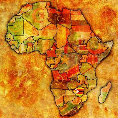 Zimbabwe On Actual Map Of Africa-michal812-Art Print