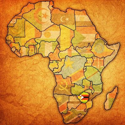 Zimbabwe on Actual Map of Africa-michal812-Art Print