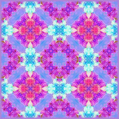 Zinnia with Orchid and Colorful Pop Floral Ornaments, Symmetric Floral Montage, Layer Work-Alaya Gadeh-Photographic Print