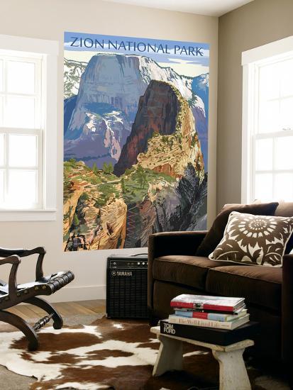 Zion National Park - Angels Landing-Lantern Press-Wall Mural