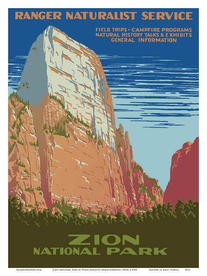 Zion National Park - Great White Throne Mountain - Ranger Naturalist Service-Work Projects Administration (WPA)-Art Print