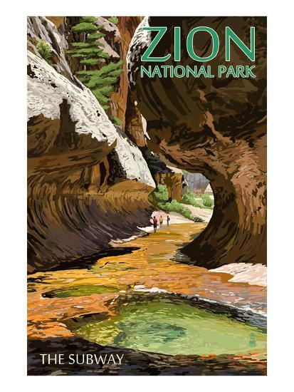 Zion National Park - The Subway-Lantern Press-Art Print