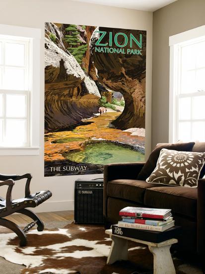 Zion National Park - The Subway-Lantern Press-Wall Mural