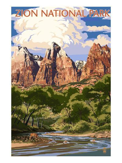 Zion National Park - Virgin River and Peaks-Lantern Press-Art Print