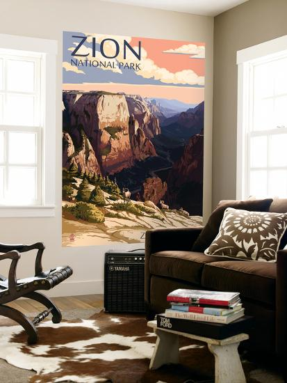 Zion National Park - Zion Canyon Sunset-Lantern Press-Wall Mural