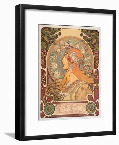 Zodiac, 1896-Alphonse Mucha-Framed Premium Giclee Print