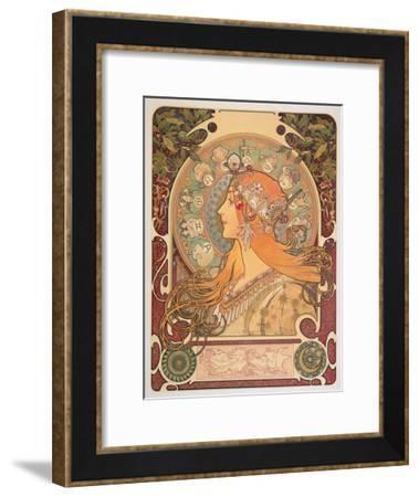 Zodiac, 1896-Alphonse Mucha-Framed Giclee Print