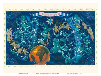 Zodiac Constellations - Star Planisphere-Lucien Boucher-Art Print
