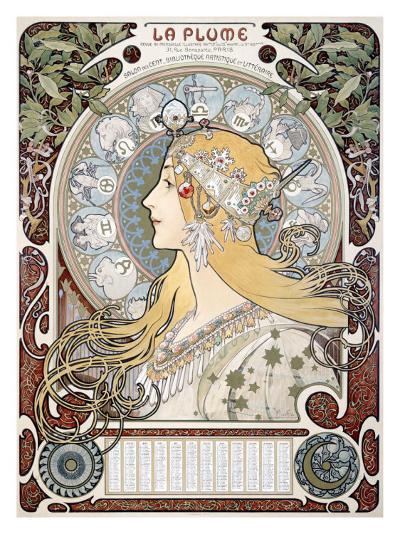 Zodiac le Plume-Alphonse Mucha-Giclee Print