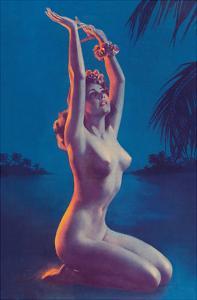Starry Night in Hawaii (Tropical Nude Hula Dancer) by Zoë Mozert