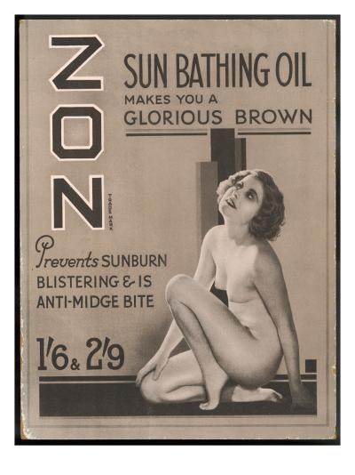 Zon Sunbathing Oil Which Makes You 'A Glorious Brown'--Giclee Print