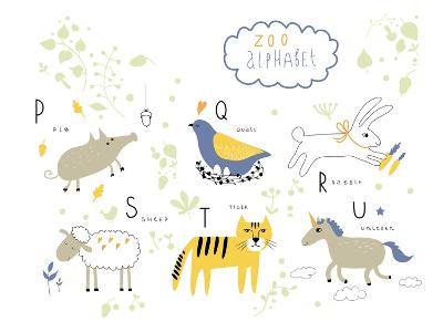 Zoo Alphabet - P, Q, R, S, T, U Letters-Lera Efremova-Art Print