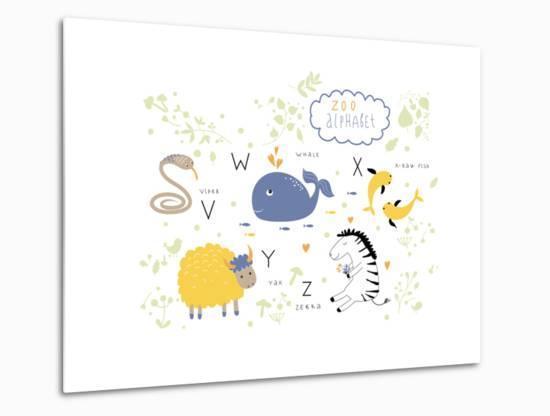 Zoo Alphabet - V, W, X, Y, Z Letters-Lera Efremova-Metal Print