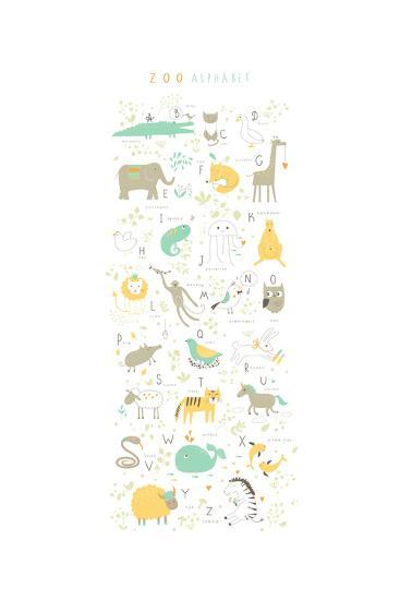 Zoo Alphabet with Funny Animals and Letters-Lera Efremova-Art Print