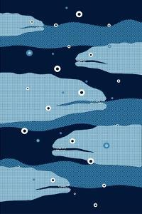 Funny Moray Eel Illustration. by ZOO BY