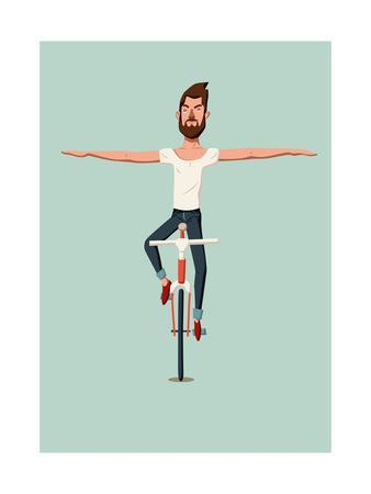 Hipster Man Riding a Bike Without Holding the Handlebars